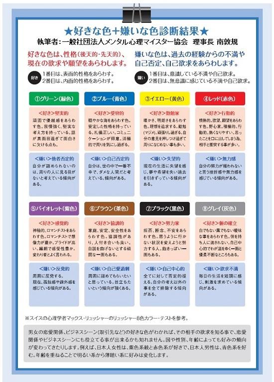 バックナンバー心理テストVol.6 8色カラー心理診断一般社団法人メンタル心理マイスター協会